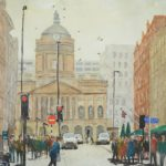 view of Liverpool Town Hall down castle street including traffic lights and pedestrians