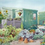 Sunny scene on an allotment garden with various plants growing, a green shed and some terracotta pots scattered around.