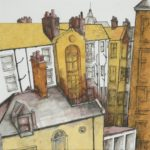 buildings drawn in yellow, white, black and grey