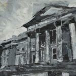 Black and grey view of St George's Hall portico