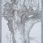 black and white drawing of tree trunk