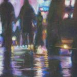 night scene, people in shadow colours with bright neons in air and reflecting on pavement.