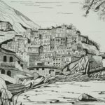 black and white drawing of an Italian hill town, buildings stacked high vertically against hillside