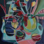 Bright block colours, flat plane, cubist-like painting of vases on a table with tulips and other flowers