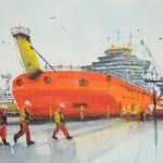 painting of polar ship with workers walking past