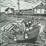 black and white lino print with strong graphic lines of a small boat in shallow harbour
