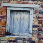 Painting of a brick wall with a wooden square door/window large in centre, boarded up.