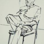 black and white sketch of a sitting man