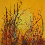yellow background, yellow sun in centre partially obscured by multicoloured twig-like plants