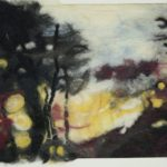 blurred trees with yellow and blue background