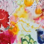 Bright, big watercolour flowers against white background.