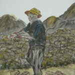 Painting of man building stone wall
