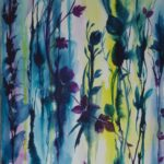 Stems of purple flowers against blue, white and yellow watercolour background