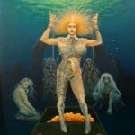 Fantasy underwater scene of a nude woman, half her body is covered in some kind of scales, broken chains on her wrists. She's floating above a stone floor with gold in a space behind her. Behind that are two mythical statues and two other fantasy/style women crouching down.