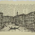 sketch of Venice canal drawn vertically across page of a book