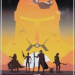 poster of Star Wars imagery: tie fighter, yoda, Mandalorian and others
