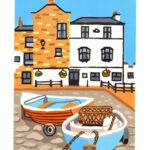 Two rowboats pulled up on wheels onto cobbles, outside two buildings - one white with black frame & the other brick. Sky is bright blue. Style is very block colours.