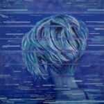 Blue painting. Back of a woman's head is visible, hair is light and cropped short -all shades of blue. Across the foreground of the painting are short horizontal lines, like distortion