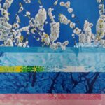 Top part is conventional painting of white blossom on the end of tree branches. Lower becomes distorted by horizontal bands of different colours across same image - lighter blue in centre and pink at the bottom