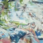 impressionistic painting of a woman lying on her back