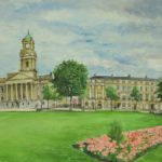 view across Hamilton Square lawn to Town Hall