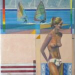Collage-style beach scene. Foreground is beach with topless woman standing. Background two windsurfers are on the sea