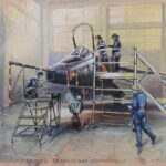 Plane in a hangar with scaffold & platforms set up around, with women working on it all around.