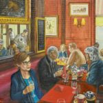 people sitting at cafe tables, red decor