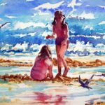 two young girls in swimming costumes sitting on a shallow ridge between pools of water with seagulls flying around, very blue sky with white clouds