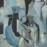 White, black, blue still life of pots