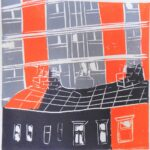 Dark grey, light grey and orange block colour print with white lines showing houses & black of flats
