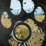 Paw print through which we can see a lion in the sights of a gun