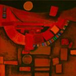 abstract in orange & brown, shows a moon & series of geometric shapes on ground underneath