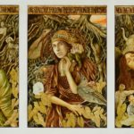 Three panels of a red-haired woman against greens and yellows