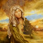 woman in headdress against stormy sky with a ship
