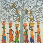 African women walking past a tree where monkeys are taking food from the baskets on the women's heads