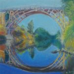 painting of bridge reflected in river below