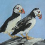 Two puffins on a rock