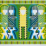 Linocut of green, yellow, blue short-lined patterns