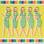 Linocut of yellow, orange and green short lines, creating female figures