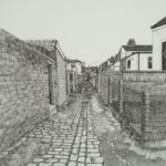 black and white alleyway between houses