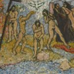 nude figures standing by river with dove over head of central figure