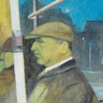 man in flat cap sitting on a bus