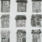 three lines of three houses, black and white
