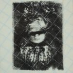 woman with eyes obscured in black, diagonal grid across surface