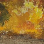 horizontally long abstract daubs in oranges, yellows and browns
