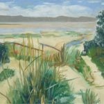 beach - sand, dune grasses, sea, mountains in background