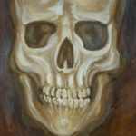 painting of a skull, face-on