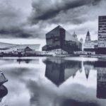 black & white view of Liverpool waterfront, Mann Island central