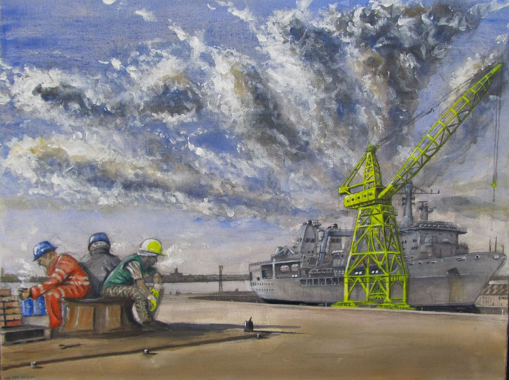 Painting of men resting from work by a ship